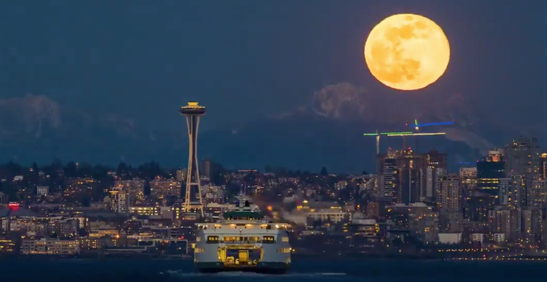 Stunning video footage of last night's giant supermoon over Seattle