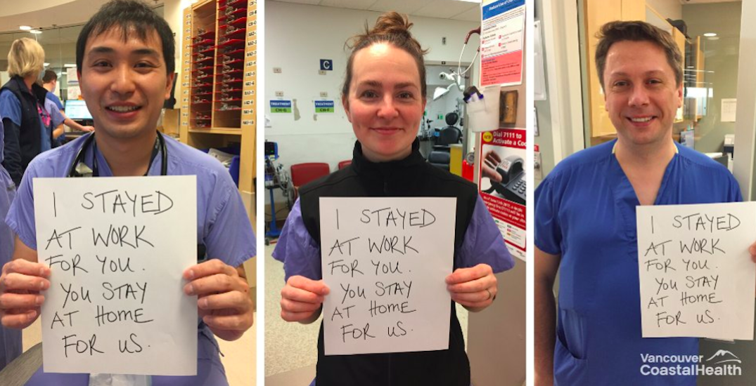 Metro Vancouver healthcare workers share important message of staying home