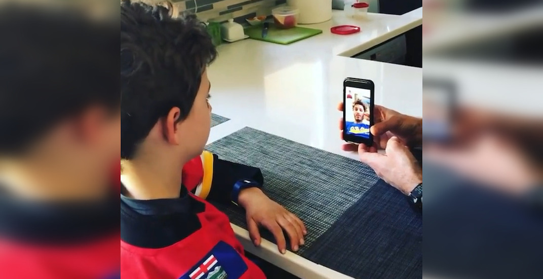 Matthew Tkachuk cheers up young Flames fan on his birthday (VIDEO)