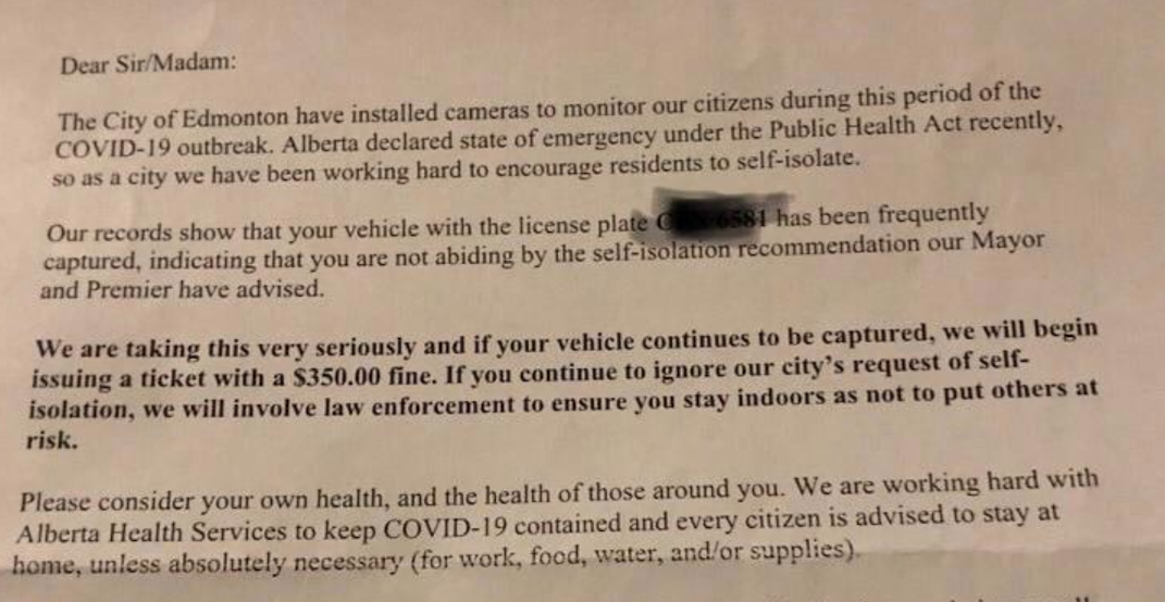 City confirms letters threatening fines for not self-isolating are fake