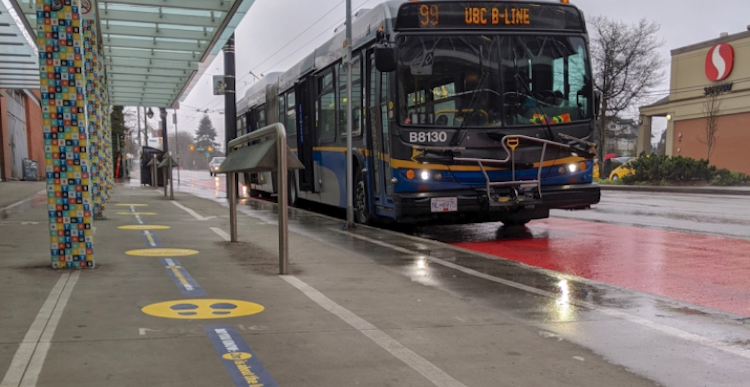 TransLink installing 2-metre spaced decals at bus stops for physical distancing