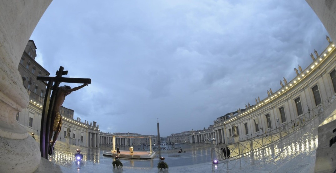Pope Francis presides over a moment of prayer in an empty St. Peter's Square