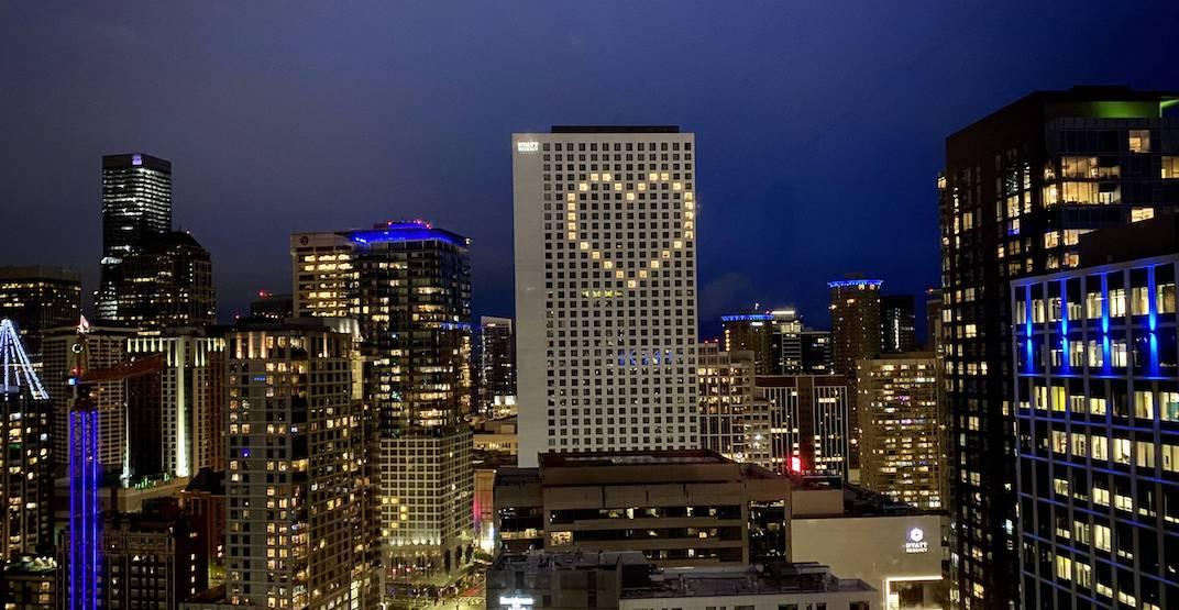Seattle's Hyatt Regency lit its rooms in the shape of a heart last night (PHOTOS)