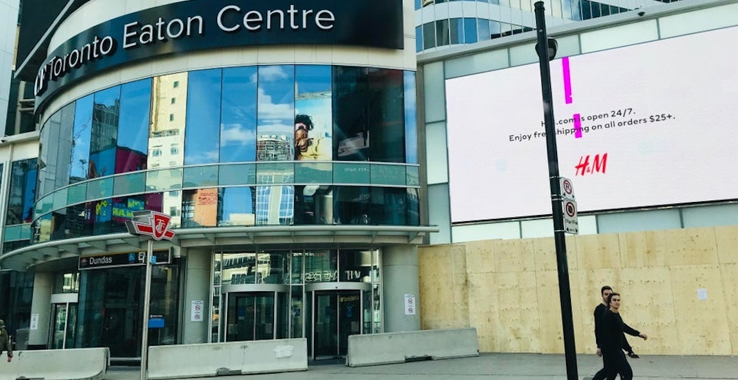 Toronto Eaton Centre shop windows covered up by boards (PHOTOS)