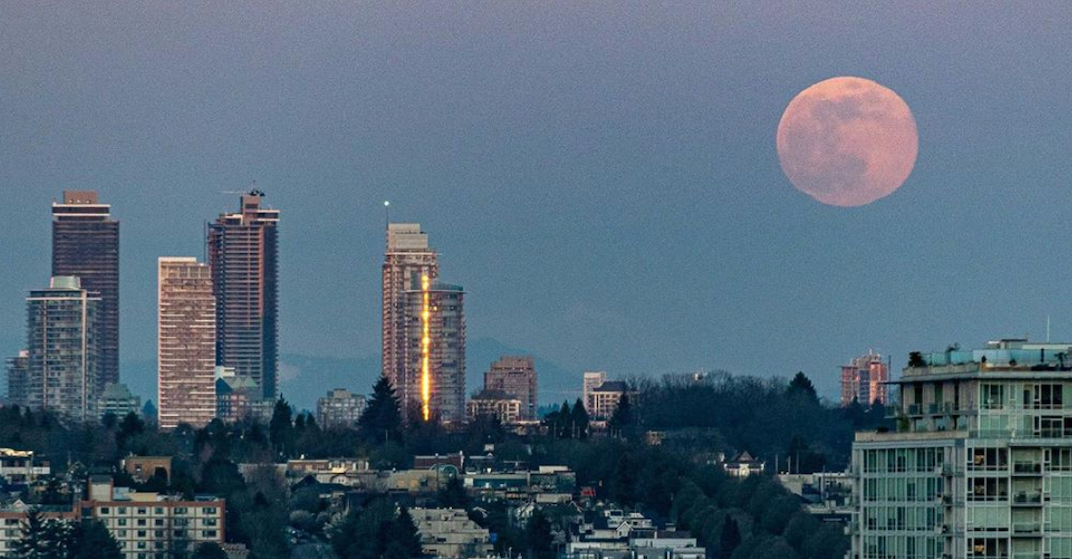 """A beautiful """"Pink Moon"""" took over the Metro Vancouver skies last night (PHOTOS)"""