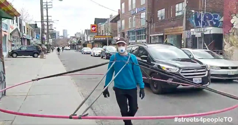 "Toronto man creates ""Social Distance Machine"" to show sidewalks are too narrow"
