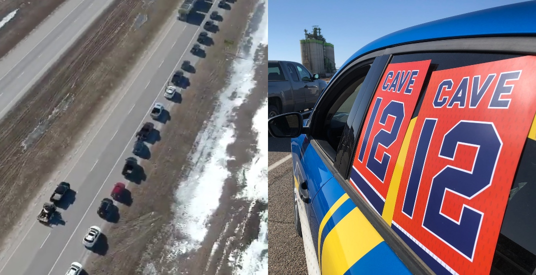 Cars line up for miles to pay tribute to Colby Cave in Saskatchewan (VIDEOS)