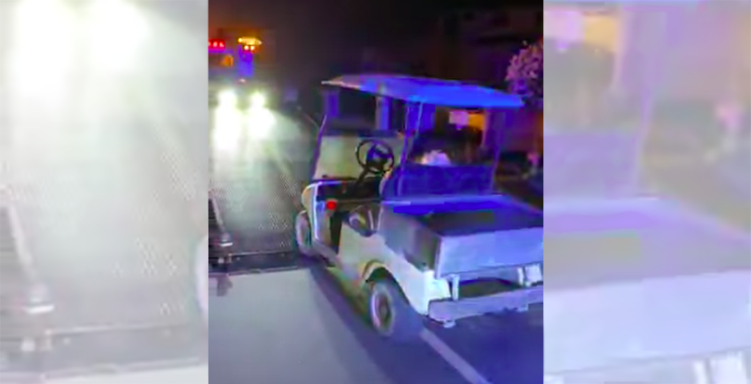 Impaired golf car driver stopped by police while driving down city street