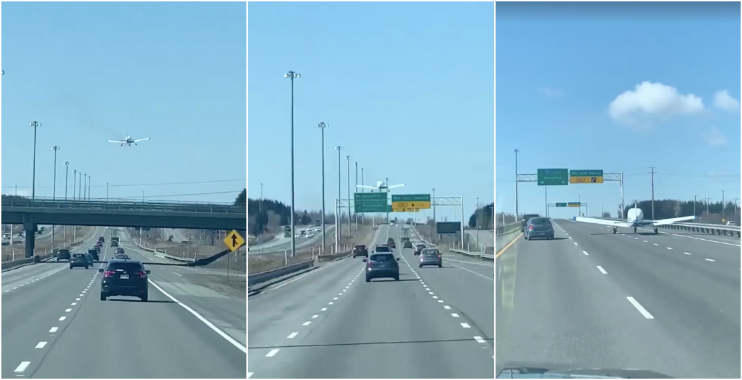 Small plane makes emergency landing on Quebec City highway (VIDEO)