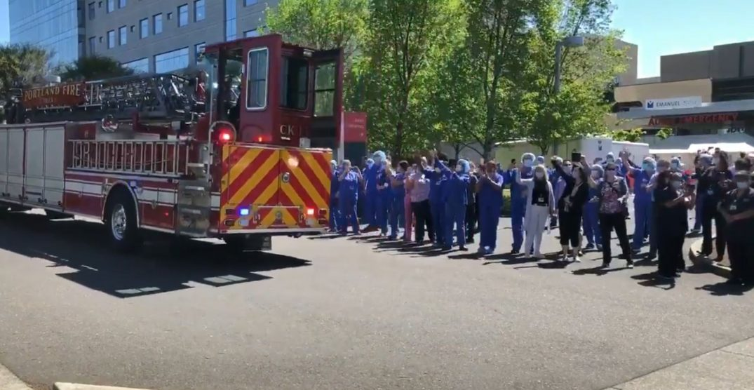 Portland emergency services hold parade for hospital workers (VIDEOS)