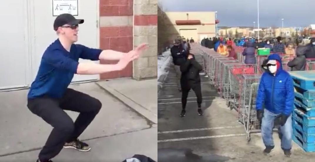 Calgary doctor leads spontaneous Costco lineup group fitness class (VIDEO)