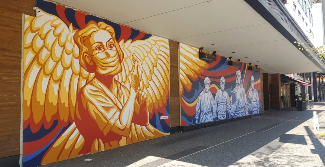 New downtown Vancouver mural honouring healthcare workers is a symbol of hope