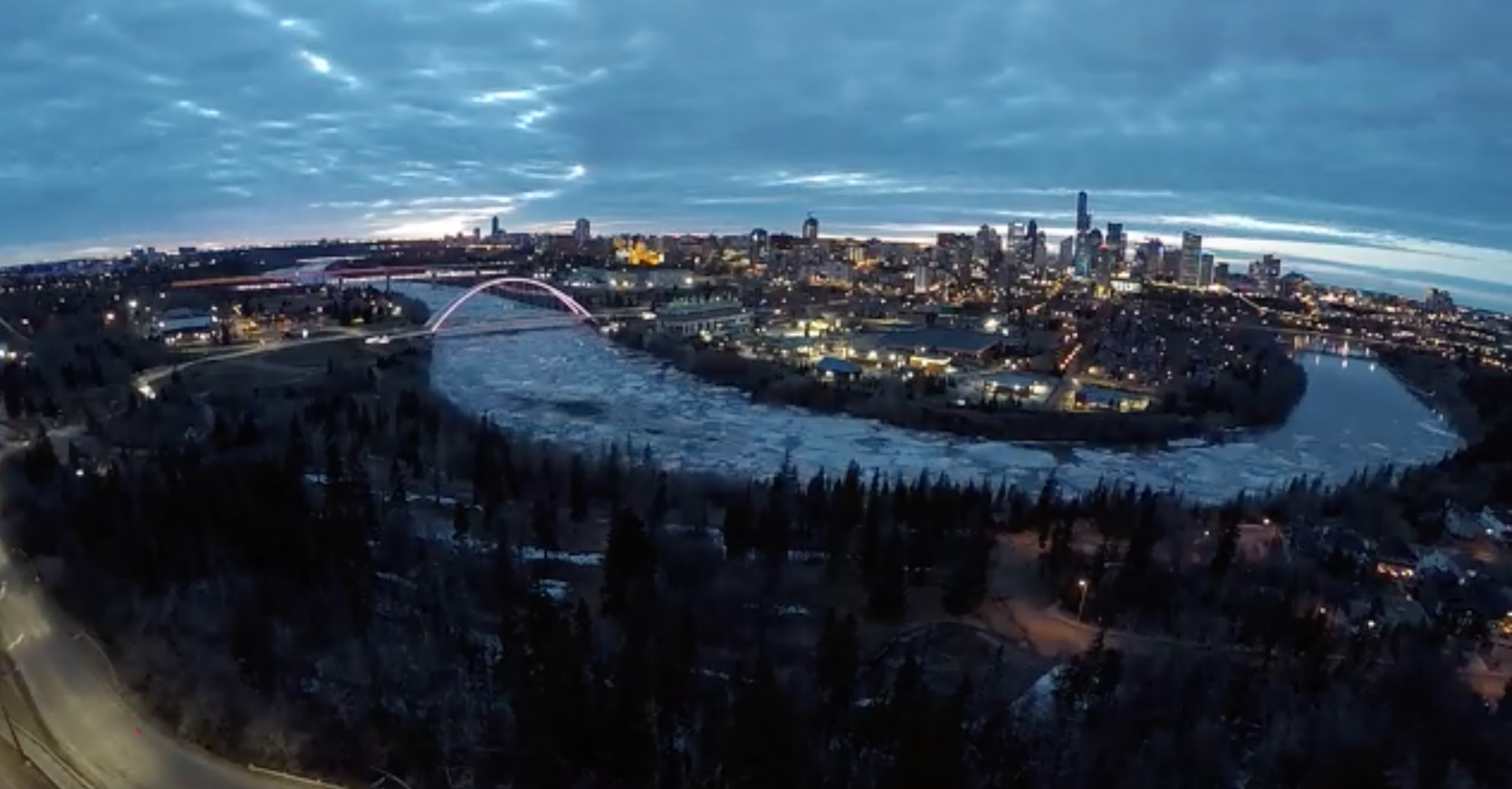 This epic time lapse captures the ice melt on the North Saskatchewan River