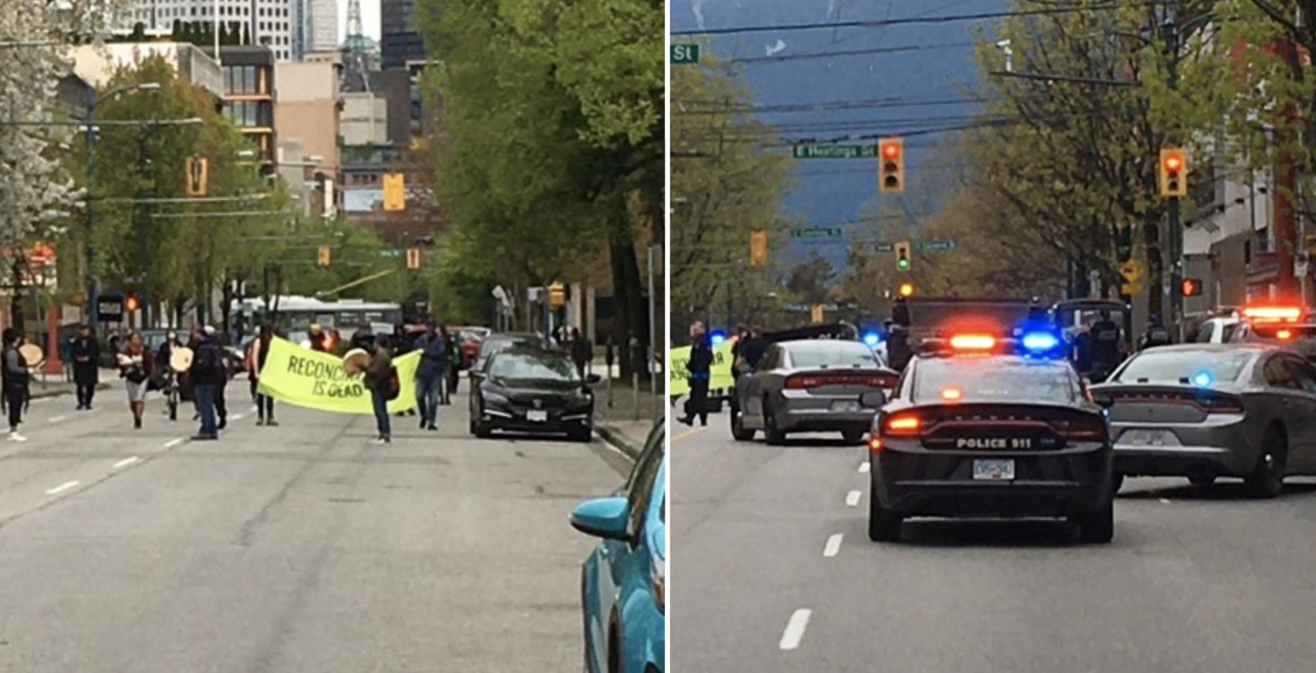 Protesters block traffic at Main and Hastings in Vancouver