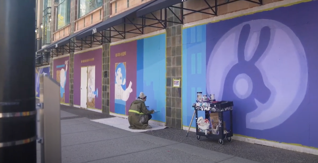 Local artists paint beautiful murals on boarded-up Vancouver storefronts (VIDEO)