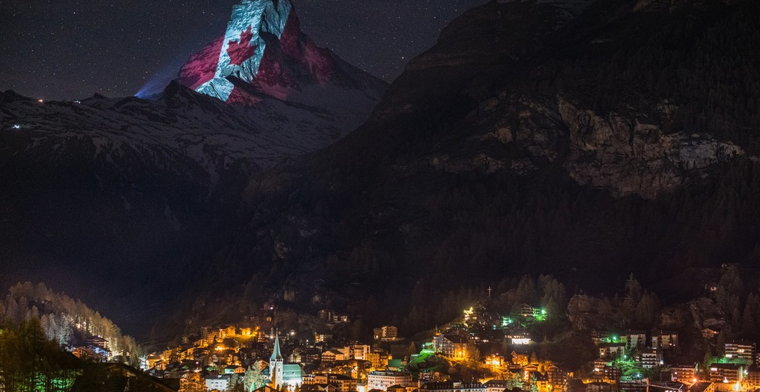 Switzerland's Matterhorn lit up with message of hope for Canadians (PHOTOS)