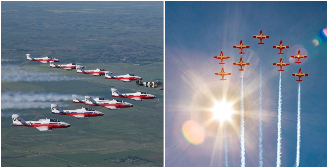 The Canadian Forces Snowbirds are flying over Montreal this afternoon