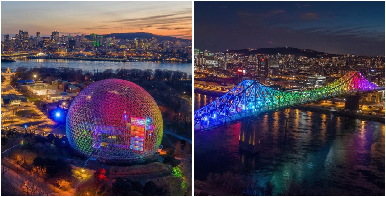 Drone captures beautiful shots of Montreal's rainbow-coloured landmarks (PHOTOS)