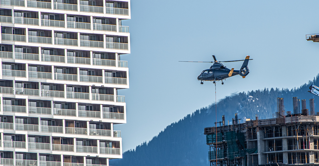 Helicopters are being used to complete construction on Vancouver House (PHOTOS)