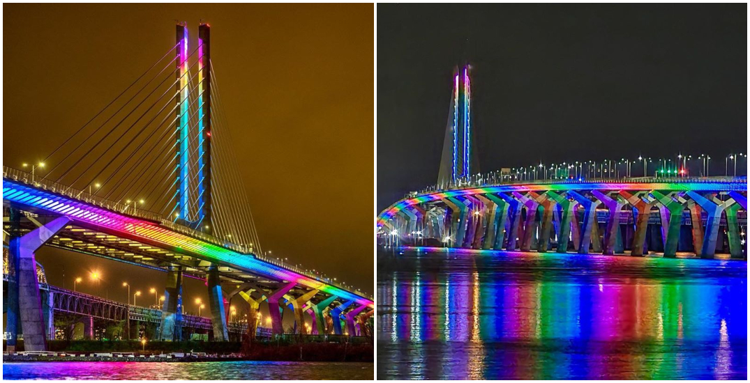 Samuel De Champlain Bridge to remain rainbow-lit for another month