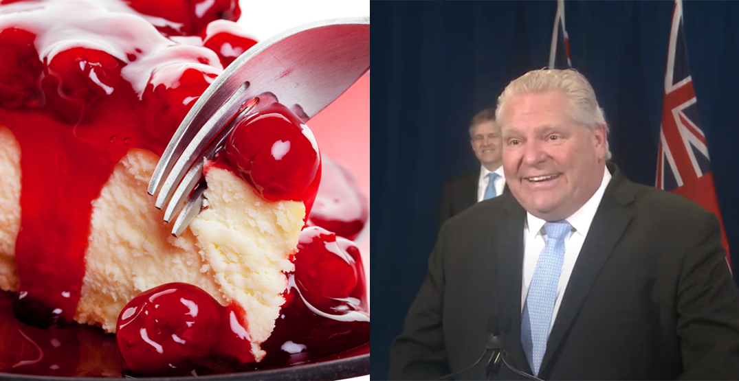 "Doug Ford says he makes ""the best cherry cheesecake ever"""