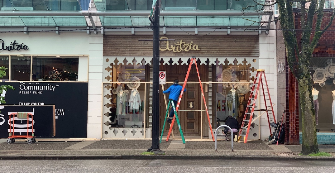 Reopening soon: Robson Street storefront boarding coming down (PHOTOS)