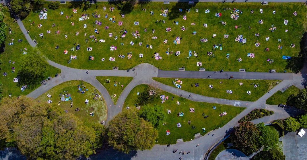 Aerial photos show birds-eye view of distancing at Vancouver beaches