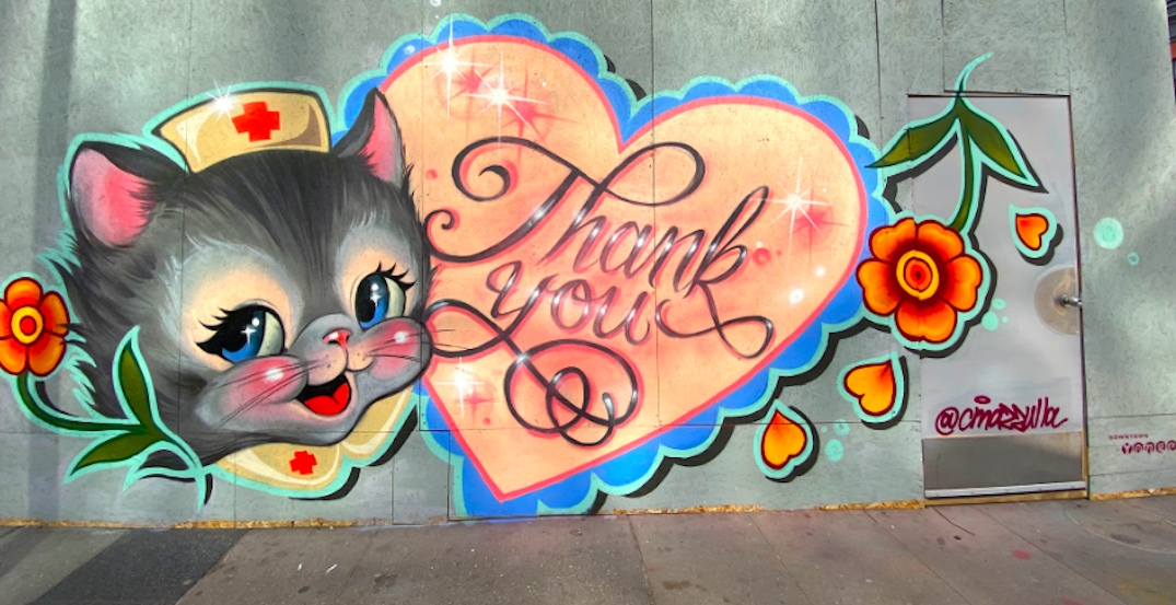 Toronto street artists paint murals thanking frontline workers on boarded storefronts