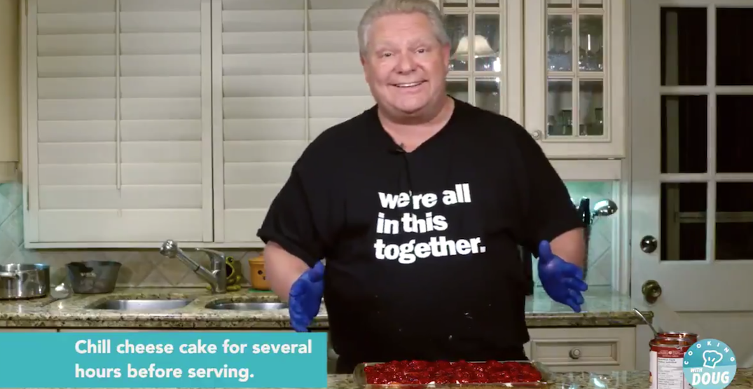"Doug Ford just released his ""famous"" cherry cheesecake recipe (VIDEO)"
