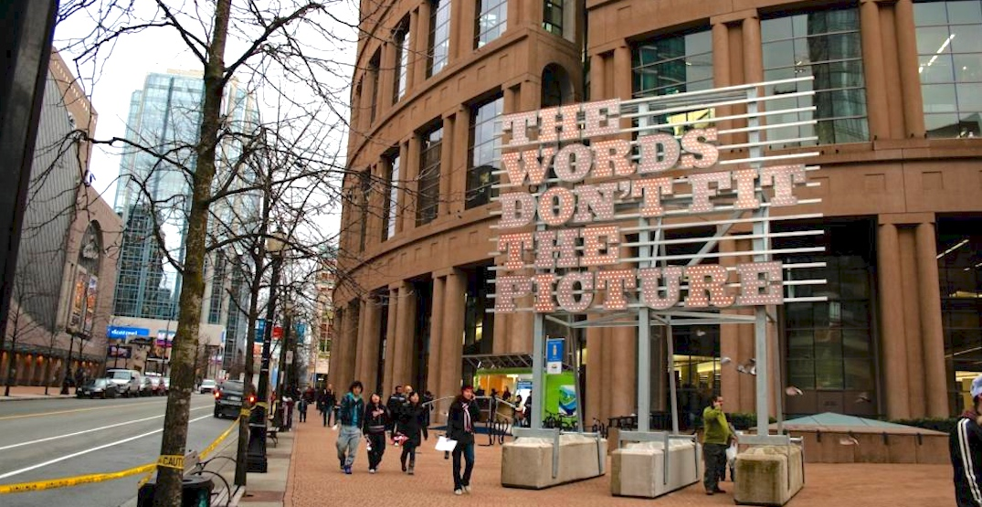 """Iconic """"words"""" sign permanently removed from Vancouver Public Library plaza"""