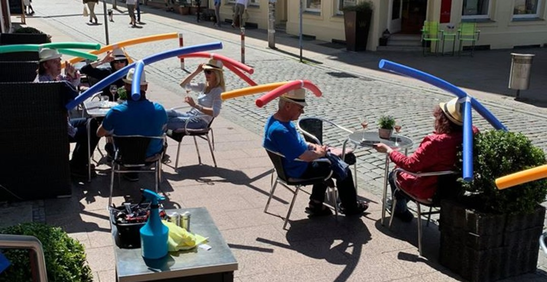 A German cafe is using pool noodle hats to promote physical distancing