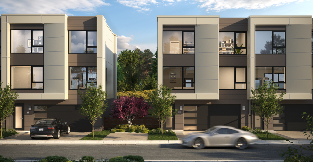 These North Van townhomes boast private fenced backyards and over 2,000 sq ft of space