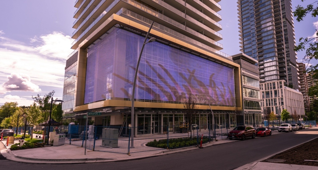 Massive LED digital art screen installed next to Metrotown Station
