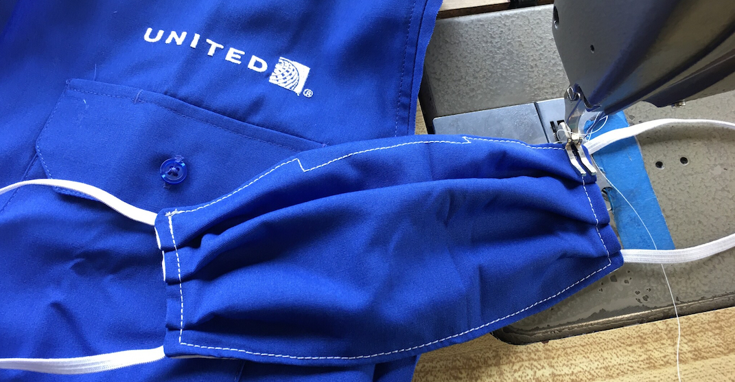 United Airlines is turning old uniforms into face masks