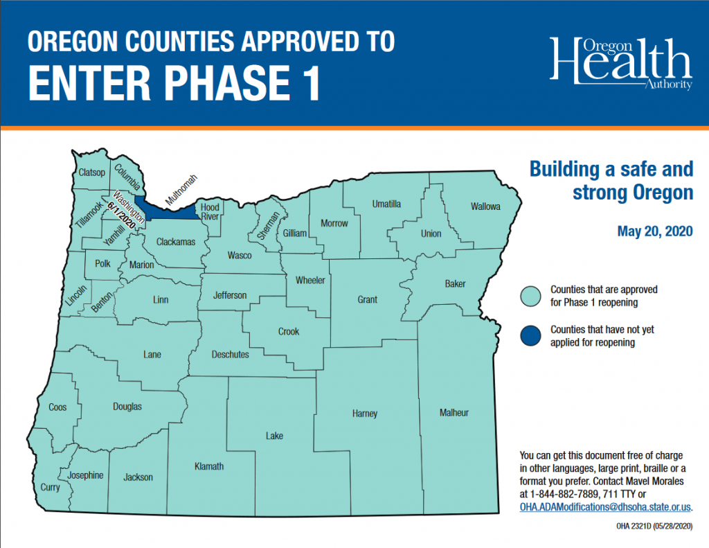 Oregon Phase 1 reopening by county