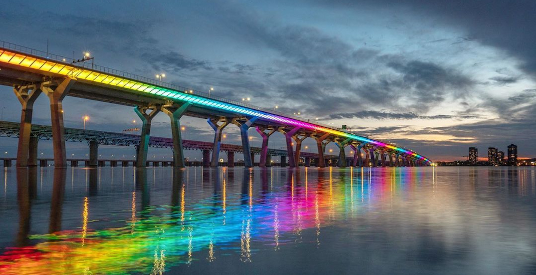 Samuel De Champlain Bridge to remain rainbow-lit through the month
