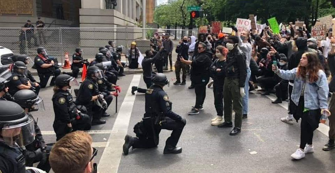 Portland protesters say police used violence minutes after taking a knee with them