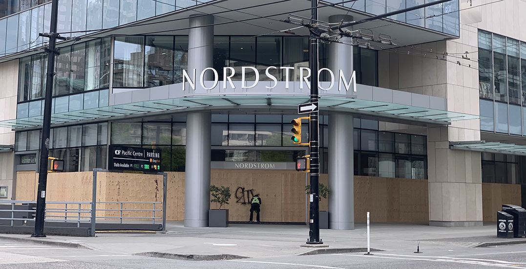 Nordstrom Pacific Centre announces temporary closure, boards exterior