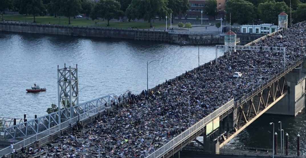 Demonstrators shut down Burnside Bridge in Portland yesterday (PHOTOS)