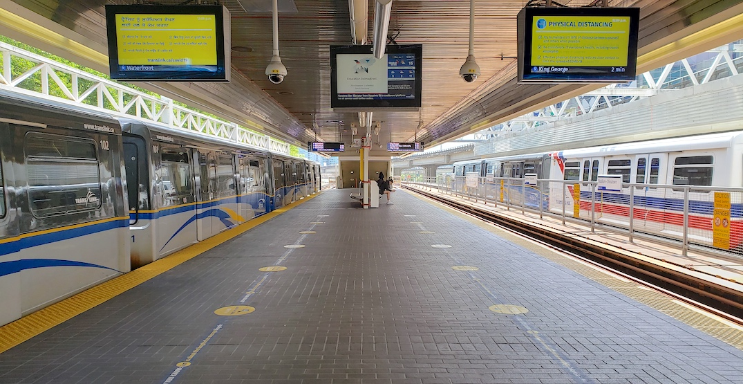 translink skytrain platform physical distancing