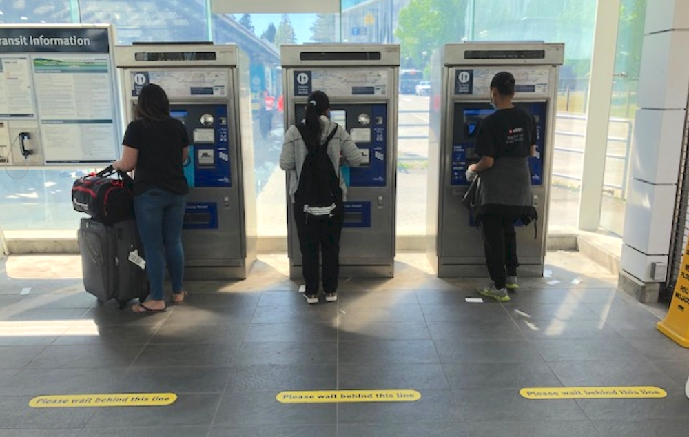 translink fare machine physical distancing