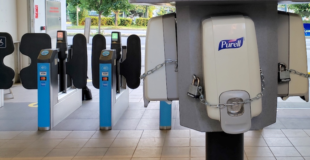 TransLink is bolting down hand sanitizer dispenser stands after thefts