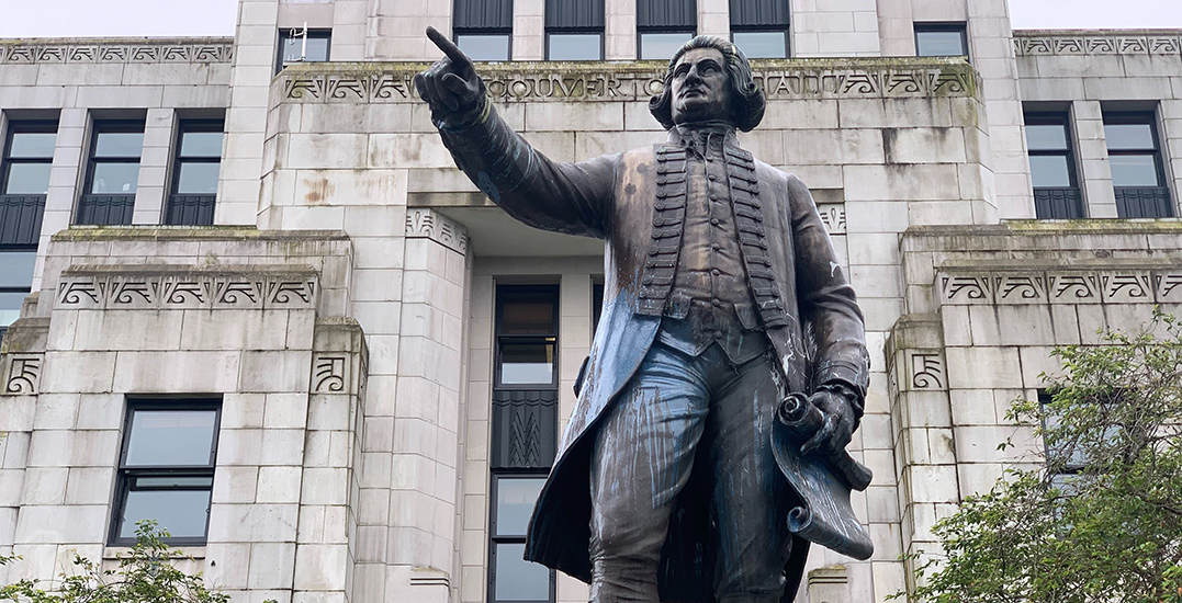 George Vancouver statue outside City Hall defaced by vandals