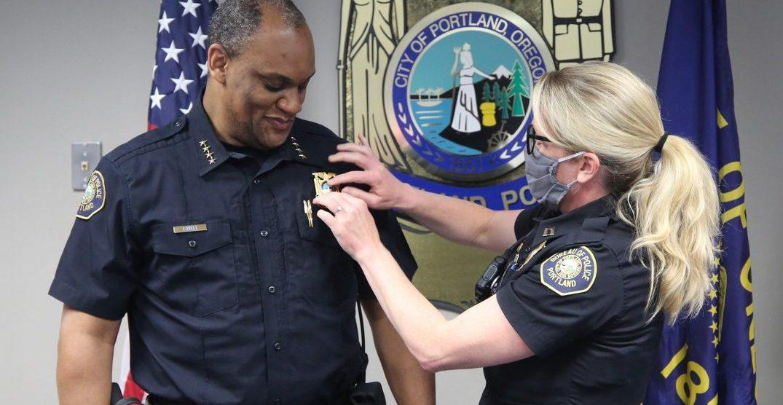 Portland Police Bureau Chief Chuck Lovell sworn in today