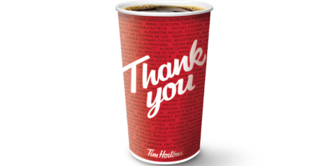 "Tim Hortons launches ""Hero Cups"" donning essential workers' names"