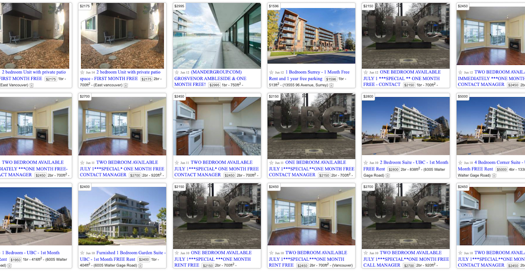Vancouver rental home listings now offering months of free rent