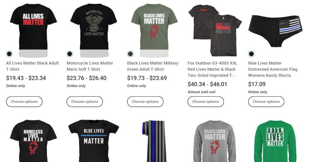 """Walmart criticized for selling """"All Lives Matter"""" and """"Blue Lives Matter"""" products"""