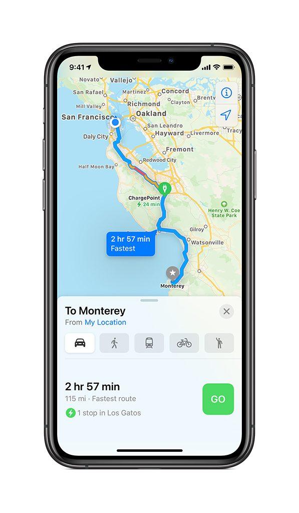 Apple Maps EV Routing