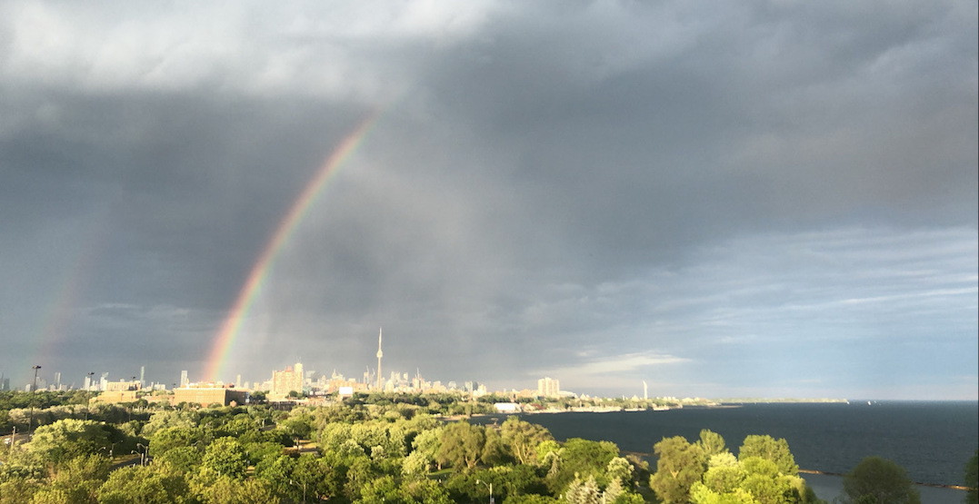 A breathtaking double-rainbow stretched across Toronto's sky yesterday (PHOTOS)