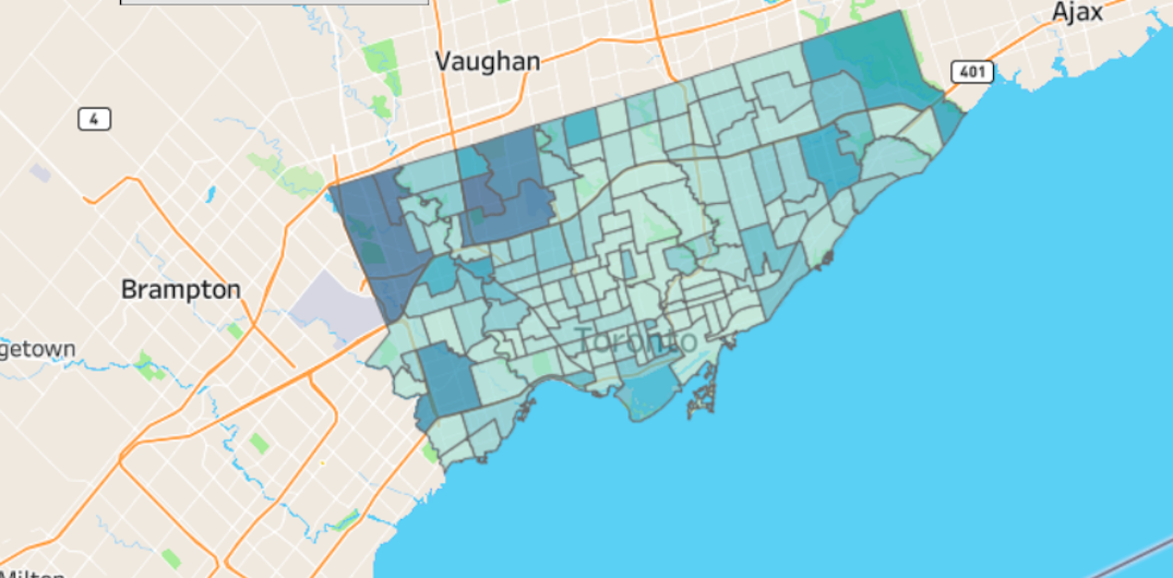 The Toronto neighbourhoods with the most and least coronavirus cases